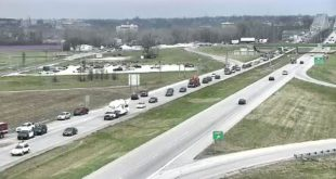 MoDot picture of traffic backing up after the wreck
